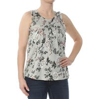 LUCKY BRAND Womens Green Floral Tank Top Sleeveless Jewel Neck Top  Size: S