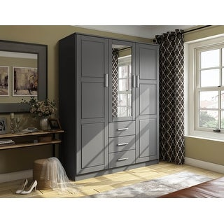 Link to Cosmo Solid Wood 3-door Wardrobe with Mirror by Palace Imports Similar Items in Bedroom Furniture