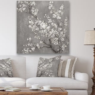 Link to Designart 'White Cherry Blossoms II' Traditional Canvas Artwork Print - Black Similar Items in Art Prints