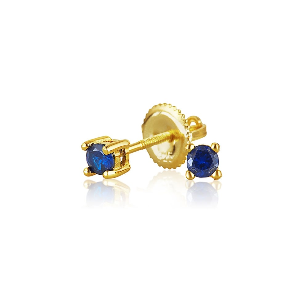 Tiny Cubic Zirconia Royal Blue Simulated Sapphire CZ Round Solitaire Stud Earrings Real 14K Yellow Gold Screwback