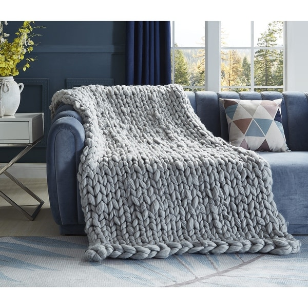 Emalia Chunky Knit Throw. Opens flyout.