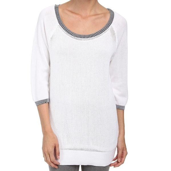 4d909cb99dfdc9 Shop Lole NEW White Women's Size Medium M Boat-Neck Ribbed Seamed Knit Top  - Free Shipping On Orders Over $45 - Overstock - 19853580