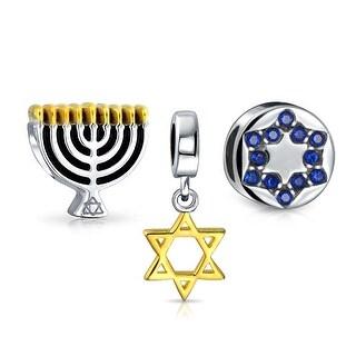 Bling Jewelry Hanukkah Chanukah Bead Set of 3 Menorah Star of David Blue Crystal Gold plated CZ .925 Sterling Silver