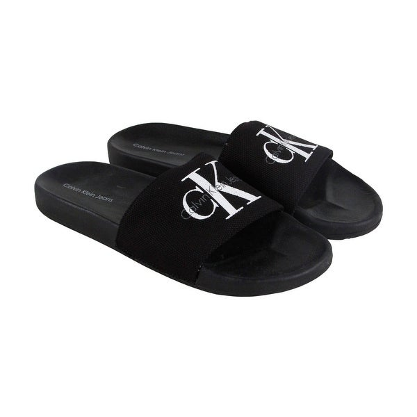 004011fc6 Shop Calvin Klein Viggo Mens Black Canvas Flip Flops Slip On Sandals Shoes  - Free Shipping On Orders Over  45 - Overstock - 19526563