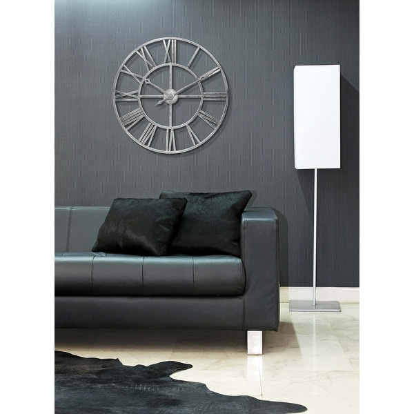 Weathered Silver Tower 30 inch Indoor/Outdoor Decorative Roman Numeral Wall Clock. Opens flyout.