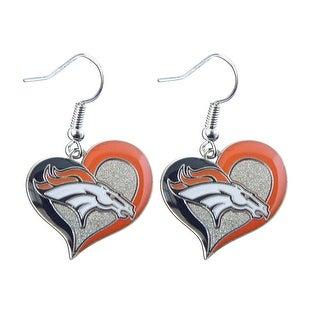 """NFL Denver Broncos 3/4"""" Swirl Heart Shape Dangle Sports Team Logo Earring Set Charm Gift"""