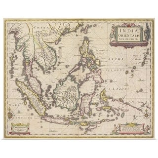 """""""Antique map of southeast Asia"""" Poster Print"""
