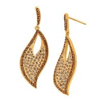 Crystaluxe Twisted Leaf Drop Earrings with Swarovski elements Crystals in 18K Gold-Plated Sterling Silver