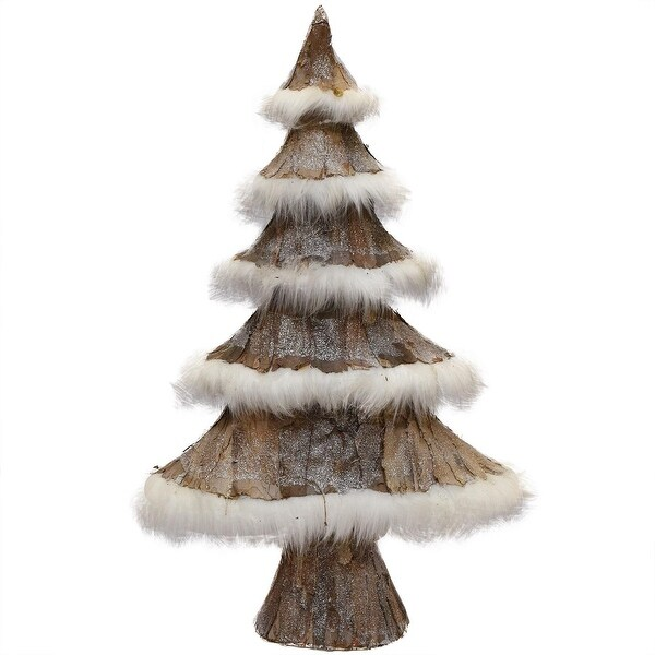 "22.5"" Brown Bark and White Faux-Fur Decorative Christmas Tree"
