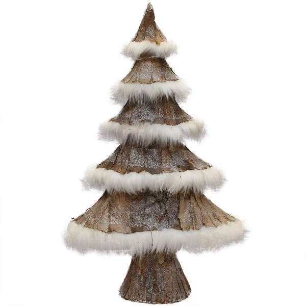 """31"""" Brown Bark and White Faux-Fur Decorative Christmas Tree"""