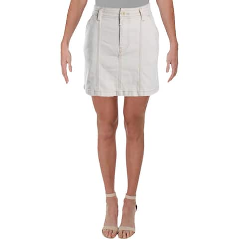 We The Free Womens Lennox Denim Skirt Seamed Mini