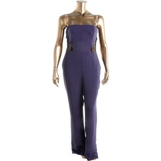 Rachel Roy Womens Guest List Lace Inset Strapless Jumpsuit