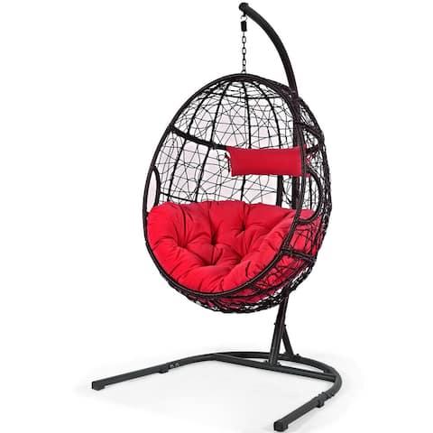 Gymax Hanging Hammock Chair Egg Swing Chair w/ Red Cushion Pillow - 40.5'' x 42'' x 81'' (L x W x H)