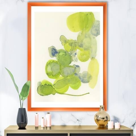 Designart 'Green Leaves Impression' Mid-Century Modern Framed Art Print