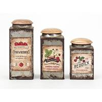 """Set of 3 Rustic Brown and Red Galvanized Finish Lidded Containers 9"""""""