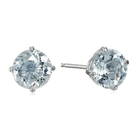 Natural Aquamarine Solitaire Stud Earrings in 14K White Gold - Blue