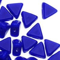 Czech Glass Kheops par Puca, 2-Hole Triangle Beads 6mm, 9 Grams, Opaque Sapphire Blue