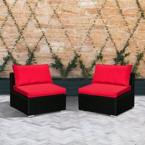 The Curated Nomad Oriano Red 2-piece Rattan Sectional Set
