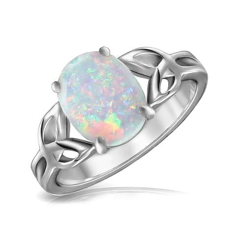 BFF Triquetra Celtic Knot Oval White Created Opal Ring Sterling Silver