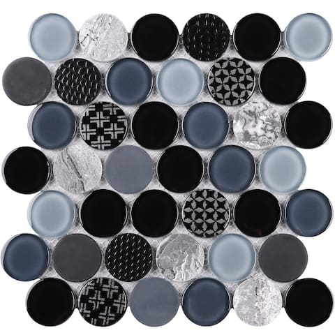 """TileGen. Circle 2"""" x 2"""" Glass and Stone Mosaic Tile in Grey Wall Tile (10 sheets/9sqft.)"""