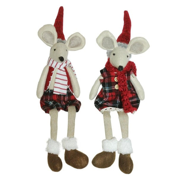 Set of 2 Plush Red Plaid Sitting Girl and Boy Christmas Mice with Dangling Legs 17""