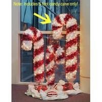 5' Pre-Lit Tinsel Candy Cane Christmas Outdoor Decoration - Clear and Red Lights - multi