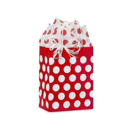 """Pack of 25, Cub Red Polka Dots Paper Bags 8.25 X 4.75 X 10.5"""" Great For Christmas or Valentine Packaging"""