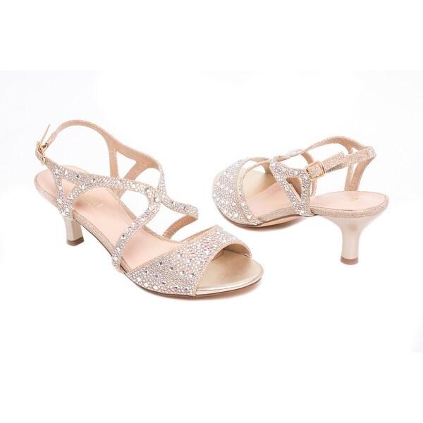 Slingback Rhinestone Low-Heel Sandal