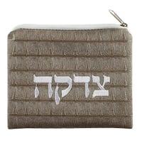 """Faux Leather Tzedakah Wallet 3.5x4.5"""""""