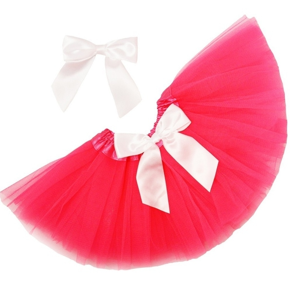 f29ea38f14 Shop Girls Hot Pink Tutu Skirt White Satin Bow Set 0-8Y - Free Shipping On  Orders Over $45 - Overstock - 18166686