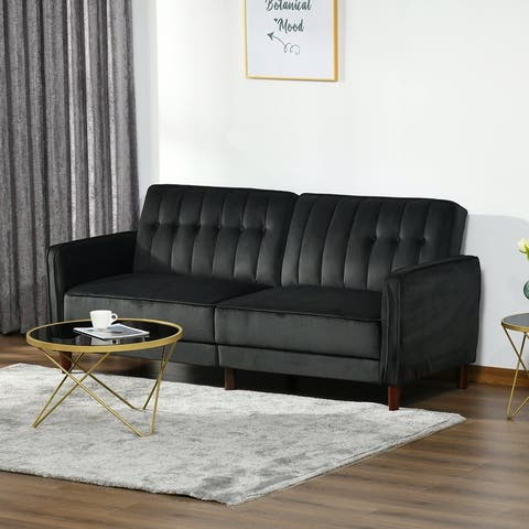 HOMCOM Convertible Sofa Sleeper Futon with Split Back Design Recline, Thick Padded Velvet-Touch Cushion Seating and Wood Legs