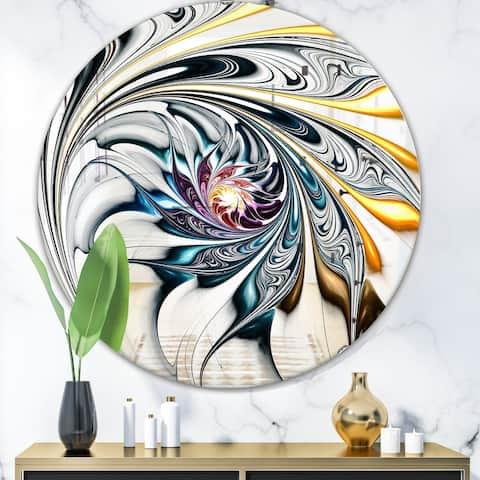 Designart Modern Stained Glass Floral Art Mirror