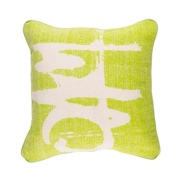 "20"" Key lime Green and Taupe Gray Art Deco Woven Throw Pillow"