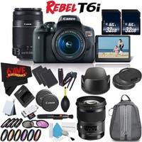 Canon Rebel T6i DSLR Camera w/ 18-55mm Lens International Version (No Warranty) + Sigma 50mm f/1.4 DG HSM Art Lens Bundle