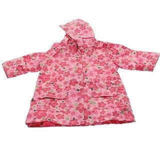 Pluie Pluie Girls Outerwear Pink Floral Print Unlined Raincoat 12M-8
