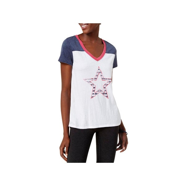 34ad7edb021e02 Shop Tommy Hilfiger Sport Womens T-Shirt Graphic Star Colorblocked ...