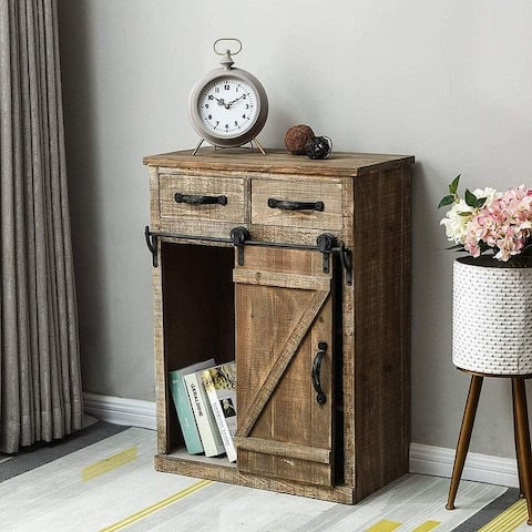 32''H Rustic Storage Cabinet with Sliding Barn Doors Hardware and 2 Drawers