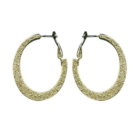 max & MO Sparkle Oval Hoop Earring