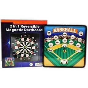2 in 1 Reversible Magnetic Dartboard with Standard Darts and Baseball Games
