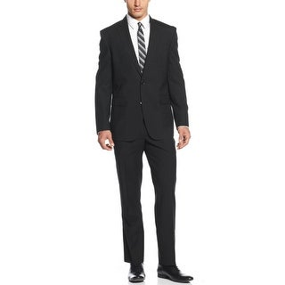 Kenneth Cole New York Slim Fit Black Striped Suit 40 Short 40S Pants 34W