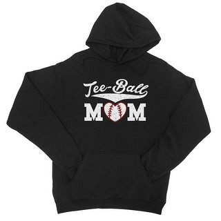 Tee-Ball Mom Unisex Black Fleece Hoodie Cute Gift For Baseball Mom