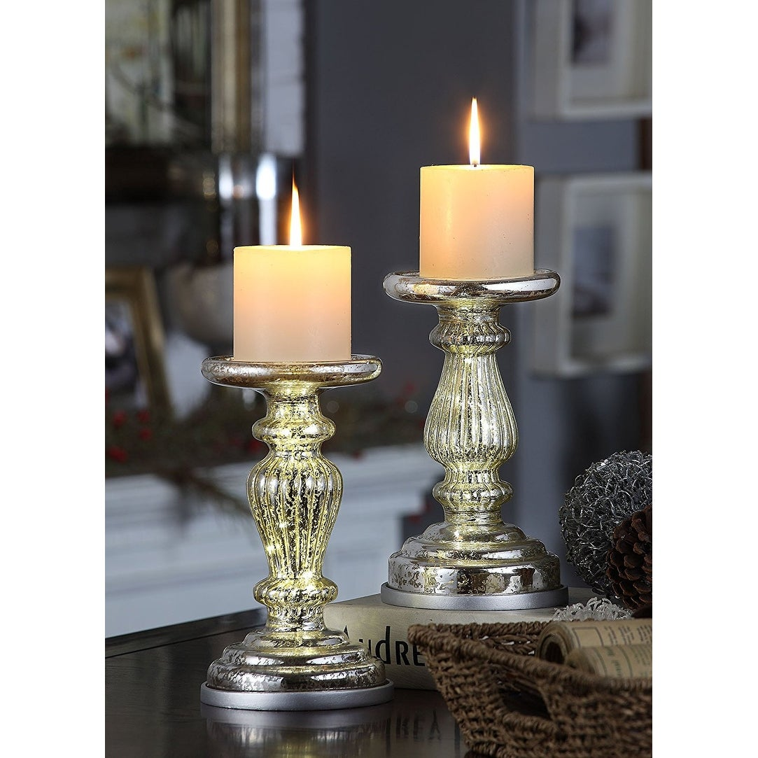 Mercury Glass 8 5 Lit Pillar Candle Holder With Timer Silver Set Of 2 Overstock 21450890