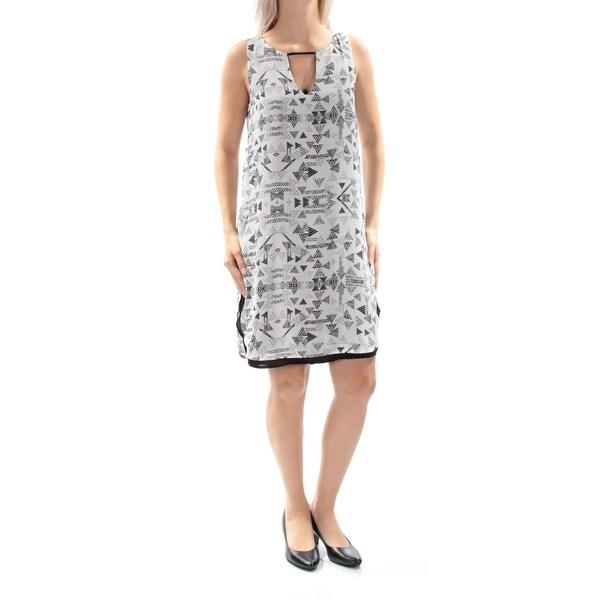 BAR III Womens White Sleeveless Keyhole Above The Knee Shift Dress Size: S
