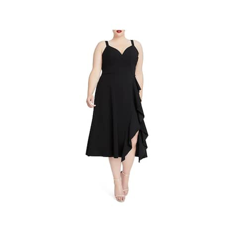 Rachel Rachel Roy Womens Plus Cocktail Dress Ruffled Midi - 22W