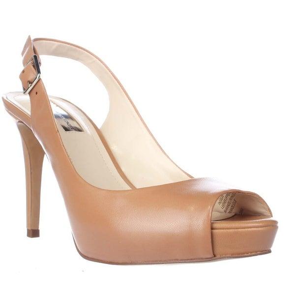I35 Gilas Platform Peep Toe Slingback Heels, Honey
