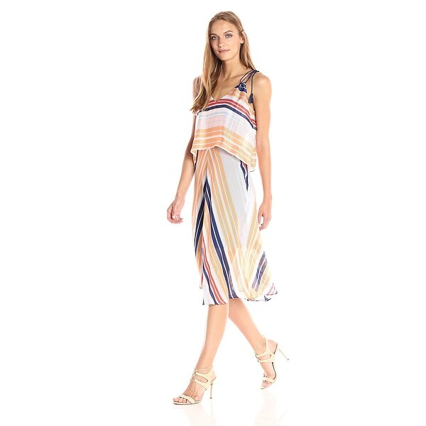 ad4cfbb4a7 Shop RACHEL Rachel Roy Women s Striped Midi Popover Dress Multi Stripe -  Free Shipping Today - Overstock - 21277601