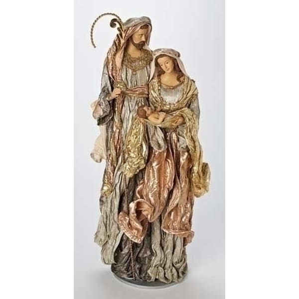 "31"" Large Religious Green and Mauve Holy Family Fabric Mache Christmas Figure - multi"