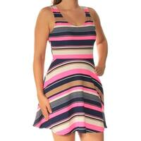 Womens Blue Pink Striped Sleeveless Mini Fit + Flare Dress  Size:  S