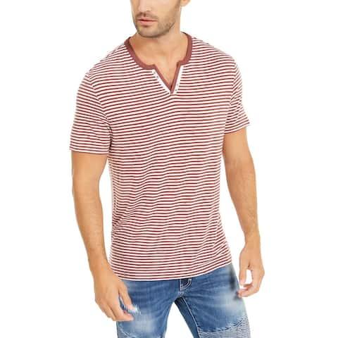 INC Mens T-Shirt Brown Rust Red Size XL Striped Split-Neck Button-Detail