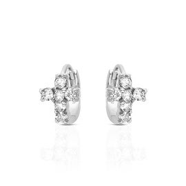 MCS JEWELRY INC STERLING SILVER 925 CROSS HUGGIE EARRINGS WITH CUBIC ZIRCONIA 12MM